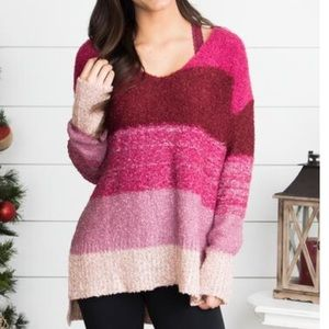 Women's small Berry Pink striped sweater